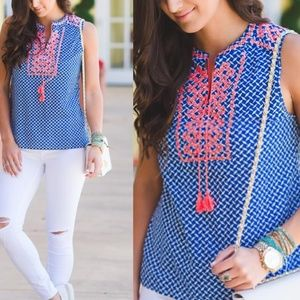 J Crew embroidered tassel top worn once size 2